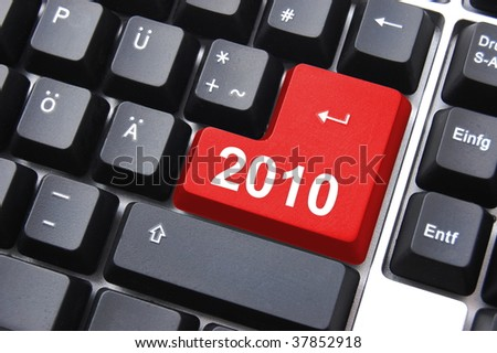 happy new year 2010 button on computer keyboard