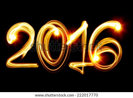 Happy New Year 2016 by light - stock photo