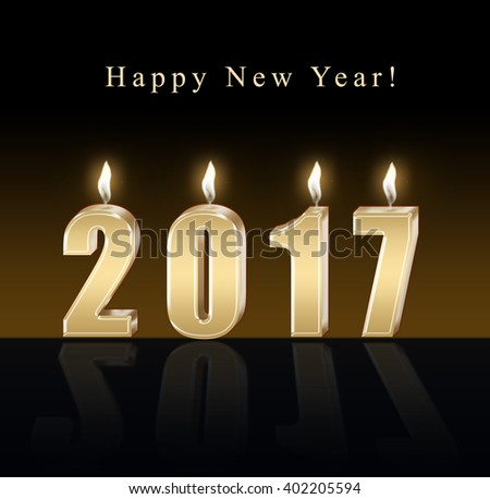 Happy new year 2017 - candles - stock photo