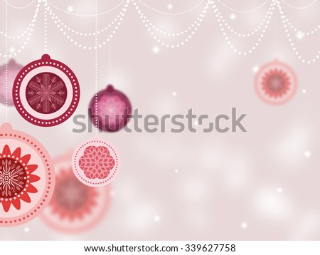 Happy New Year 2016 Card. Beautiful Vintage Christmas Balls on Silver Chains and Hanging Threads on Pink Blurred Background. Merry Christmas Concept. Stunning Snowflakes and Ball With Space for Text. - stock photo