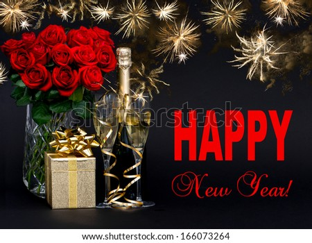 Happy New Year! card concept. red roses, bottle of champagne, golden gift with beautiful golden fireworks on black background - stock photo