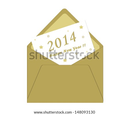 Happy New Year Card with Envelope in gold - stock photo