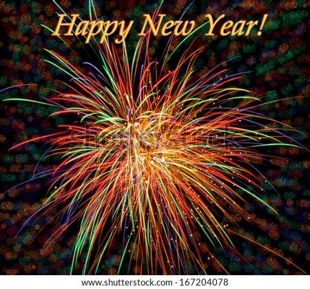 Happy New Year celebration background. - stock photo