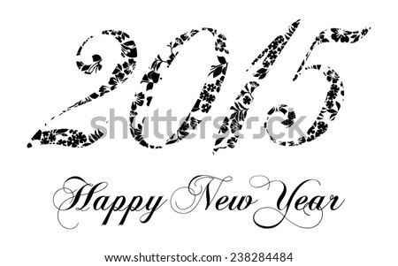 Happy New Year 2015 celebration background. Black and white color. Raster Version.  - stock photo