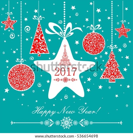 Happy new year 2017! Celebration background with Christmas star, Christmas ball, Christmas tree and place for your text.  Illustration
