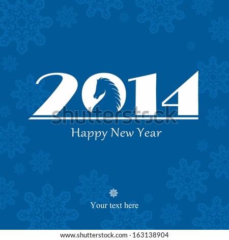 Happy New Year 2014 celebration background with symbol of the horse - stock photo