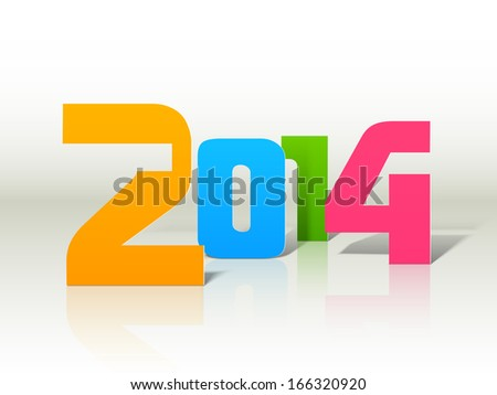 Happy New Year 2014 celebration flyer, banner, poster or invitation with colorful stylish text on shiny grey background.