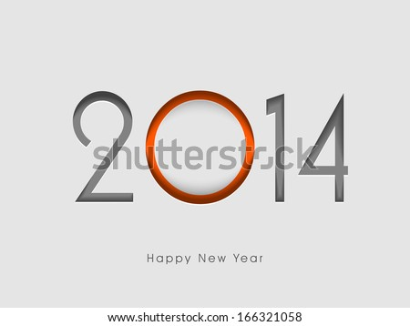 Happy New Year 2014 celebration flyer, banner, poster or invitation with colorful stylish text on grey background.  - stock photo