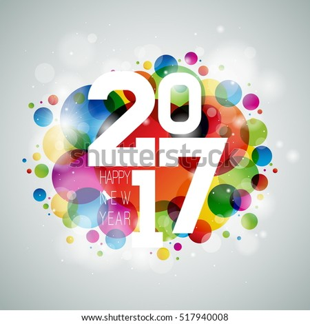 Happy New Year celebration illustration with shiny 2017 text on color bubble background. JPG version.
