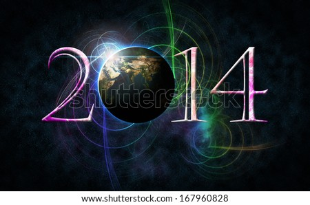Happy New Year 2014 Celebration text and number arrangement with space concept and colorful as background. Earth Map and Globe shape courtesy of NASA.