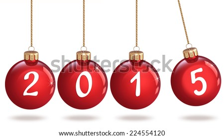 Happy New Year 2015, Christmas bauble - stock photo