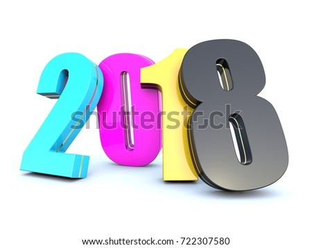 Happy New Year 2018 CMYK colors calendar on white background 3D render