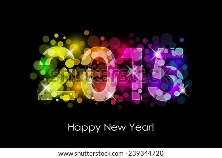 Happy New Year - 2015 colorful background - stock photo
