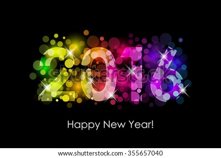 Happy New Year - 2016 colorful background - stock photo