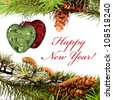 Happy New Year composition with hearts and sample text - stock photo
