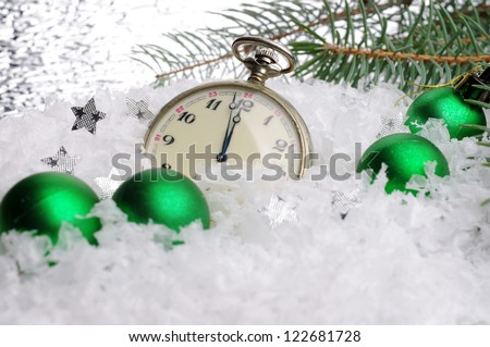 Happy New Year. Composition with old clock and balls - stock photo
