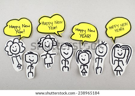 Happy New Year Concept / Community Message Wishing - stock photo