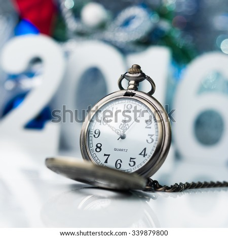 Happy New Year 2016. Concept photo merry christmas with white big figure and abstract background