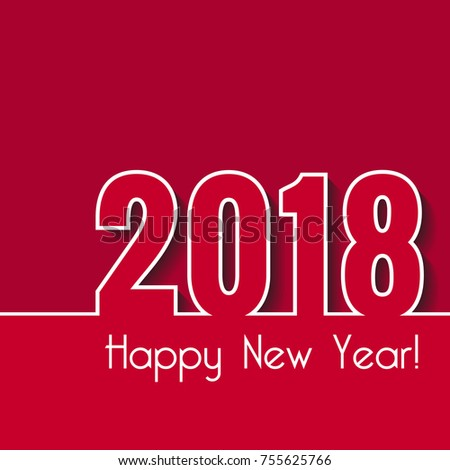Happy new year 2018 creative greeting stock illustration 755625766 happy new year 2018 creative greeting card template over red background m4hsunfo Images