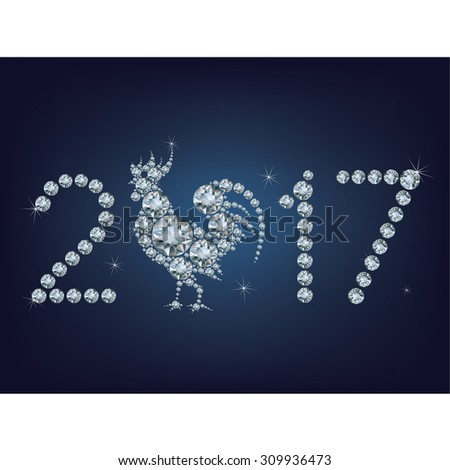 Happy new year 2017 creative greeting card with Rooster made up a lot of diamonds