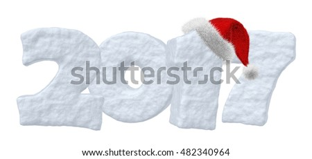 Happy New Year creative holiday concept - 2017 new year sign text written with numbers made of snow with Santa Claus fluffy red hat, New Year 2017 winter snow symbol 3d illustration isolated on white