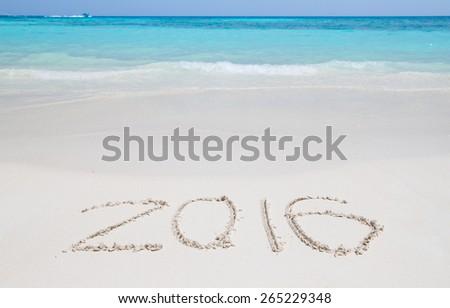 Happy new year 2016 creative on beach : Simialan island, Phang-nga, Thailand - stock photo