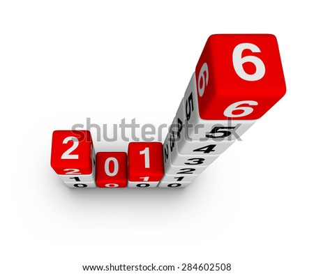 Happy New Year 2016. Cubes Diagram. - stock photo