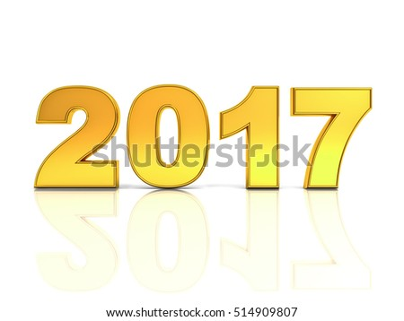 Happy new year 2017 3D gold text concept isolated over white background with reflection and shadow. 3D rendering.