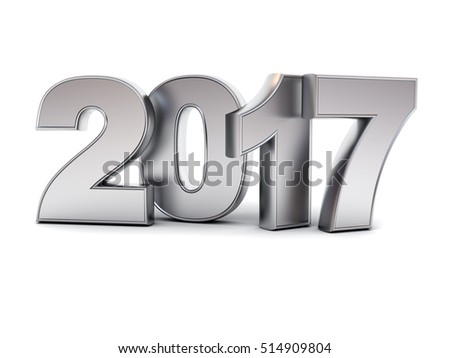 Happy new year 2017 3D metal text isolated over white background with reflection and shadow. 3D rendering.