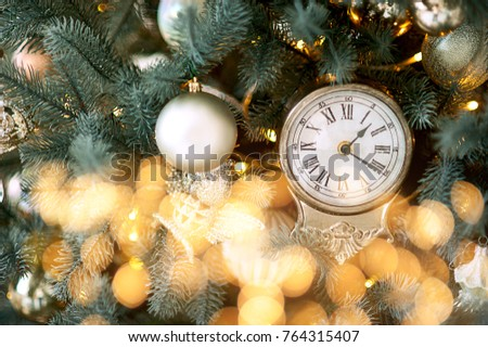 happy new year, decorated tree, toys, gifts, beautiful room. Toy decoration on Christmas tree, closeup