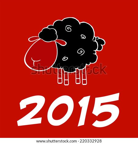 Happy New Year 2015 Design Card With Black Sheep. Raster Illustration