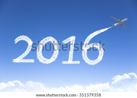 happy New year 2016 drawing by airplane in the sky - stock photo