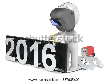 Happy New Year. Dude 3D character The Welder changing number on New Year from 2015 to 2016.