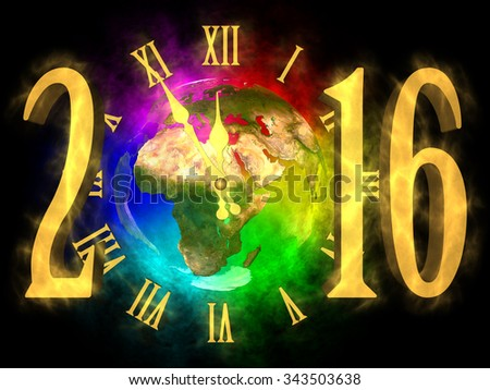 Happy new year 2016 Europe, Asia and Africa - stock photo
