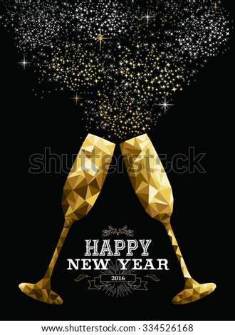 Happy new year 2016 fancy gold glasses making a toast in hipster triangle low poly style. Ideal for greeting card or elegant holiday party invitation. - stock photo