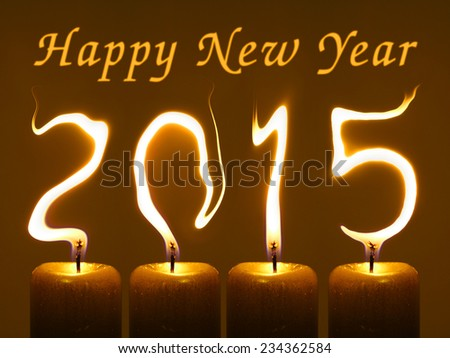 Happy new year 2015 - flames - stock photo