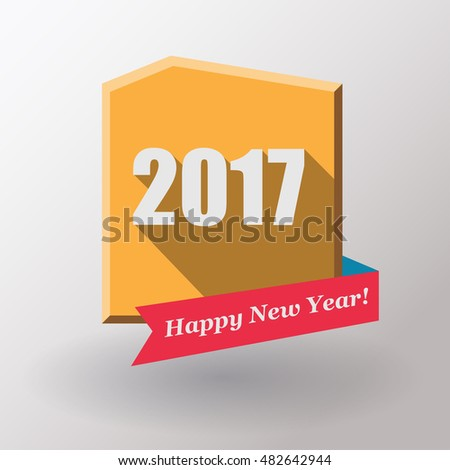 Happy New Year 2017 flat label and stamp.