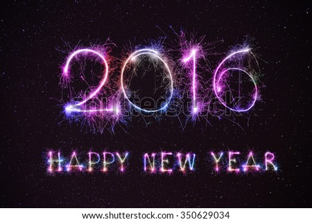 HAPPY NEW YEAR 2016 from colorful sparkle on star in night sky background - stock photo