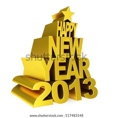 happy new year 2013 gold - stock photo