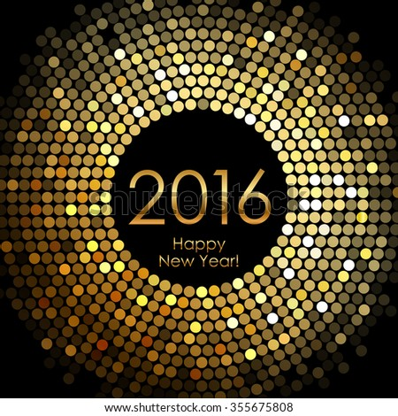 Happy New Year 2016 - gold disco lights frame - stock photo