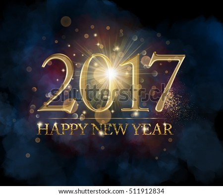 Happy New Year 2017 golden text with glitter and light effects