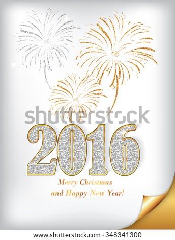 Happy New Year 2016 Golden White Stock Illustration 348341300 ...