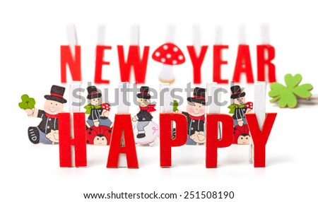 Happy new year, greeting card - stock photo