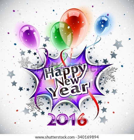 Happy New Year 2016, greeting card