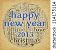Happy New Year 2013 greeting card in tag cloud on old paper - stock vector