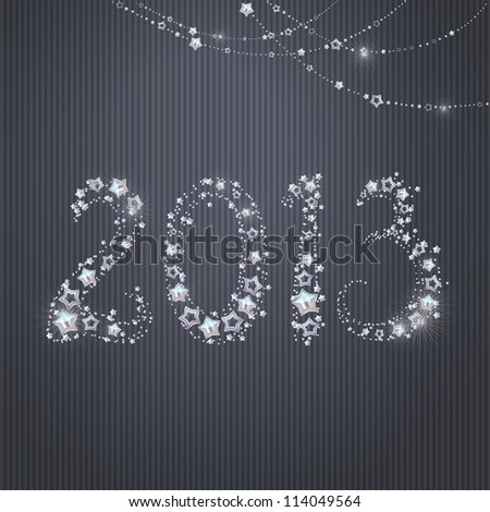 Happy New Year Greeting Card, 2013 made from glittering stars. - stock photo