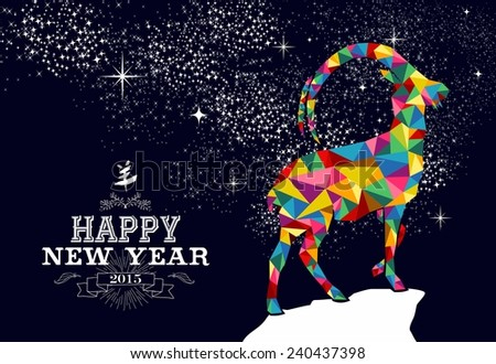 Happy new year 2015 greeting card or poster design with colorful triangle chinese goat shape and vintage label illustration - stock photo