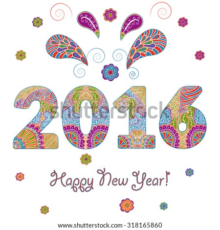 Happy New Year 2016 Greeting Card with multicolored inscription with patterned hand drawn sign in doodle style. Rasterized version. - stock photo