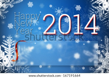 Happy new year 2014 greeting card with your text empty space, red ribbon and lot of snow flakes template - stock photo