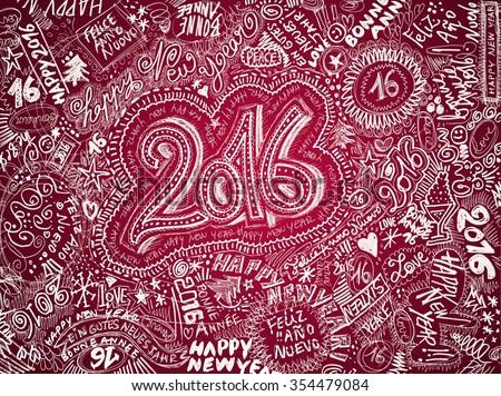 HAPPY NEW YEAR 2016 - hand drawn background - stock photo